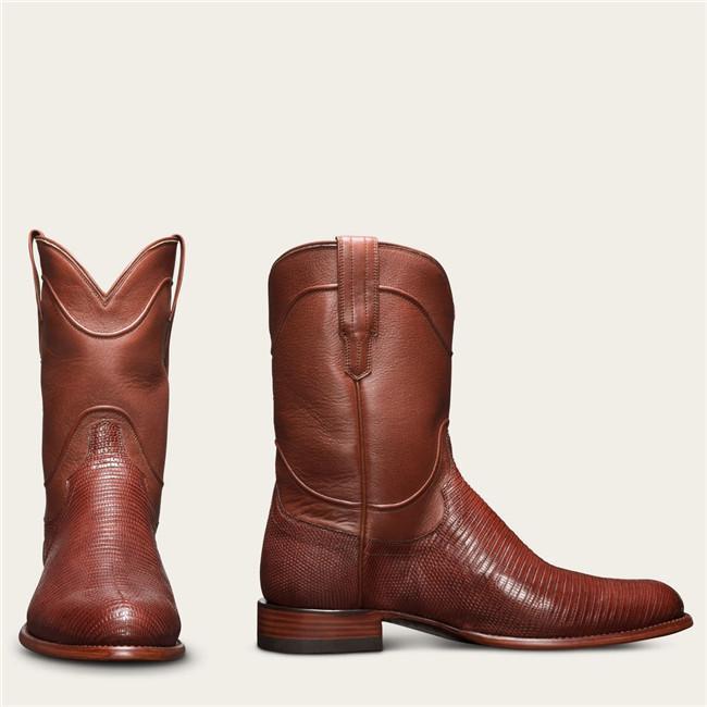 Men's Vintage Supple Lizard Leather Hand-lasted Mid Engineer Boots