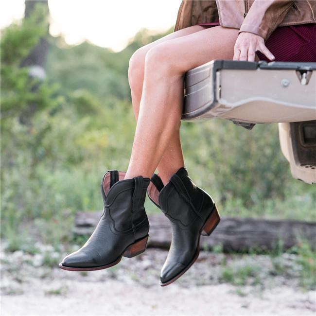 Women Pointed Toe Slip On Chunky Boots