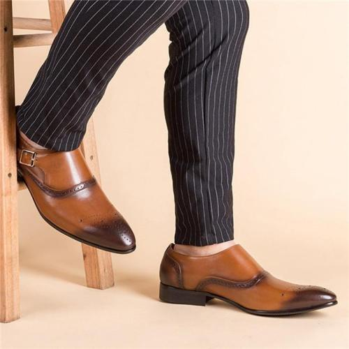 Men Retro Color Leather Non-slip Metal Buckle Formal Shoes