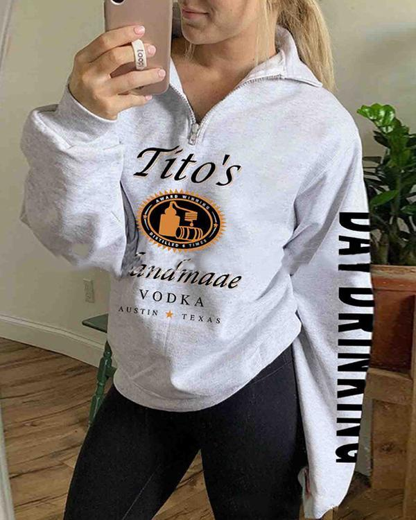 Printed Zip Casual Sweatshirt