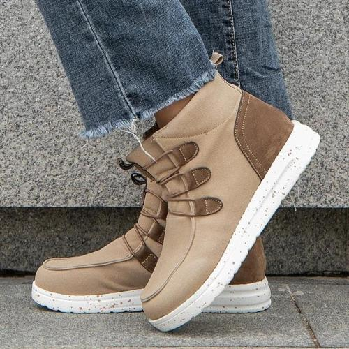 Lace-Up Artificial Leather Casual Boots