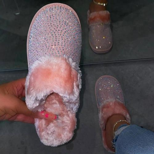Women Cozy Fur Bling Rhinestones Slip On Indoor shoes Slippers