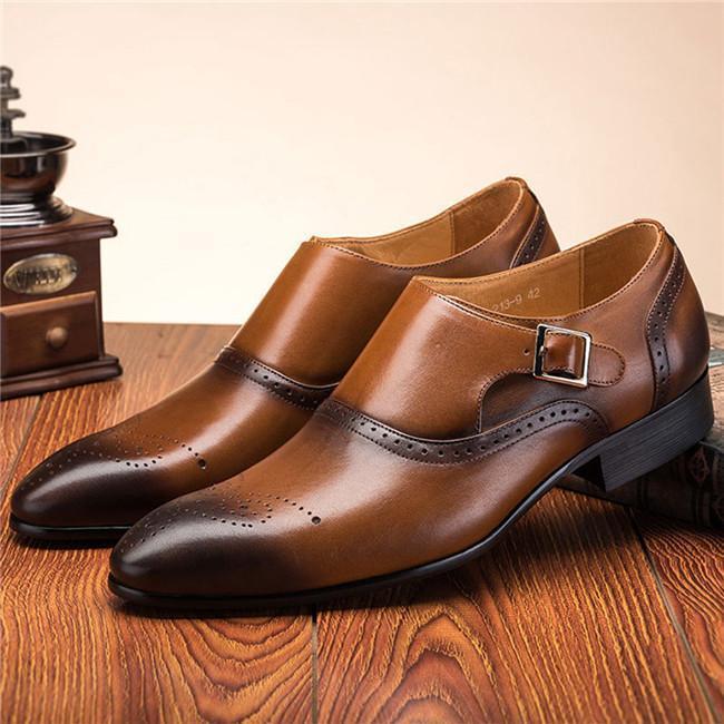 Men Retro Color Leather Non-slip Metal Buckle Formal Shoes