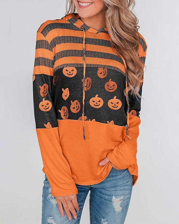 Pumpkin Print Color Block Splicing Drawstring Hoodies