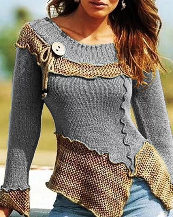 Fashion Slim Color Block Knit Sweaters