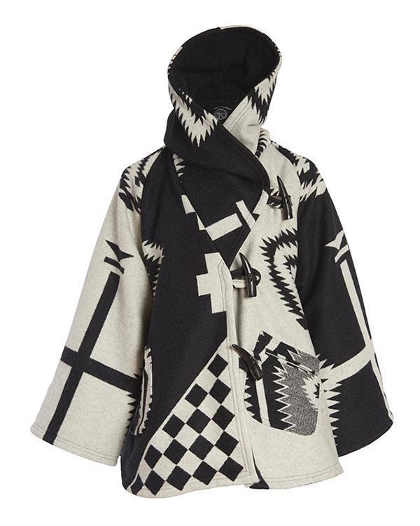 Holiday Geometric Jacquard Horn Buckles Paneled Pockets Hooded Coat