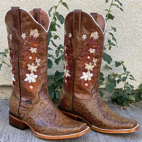 Flower Hand Tooled Boots