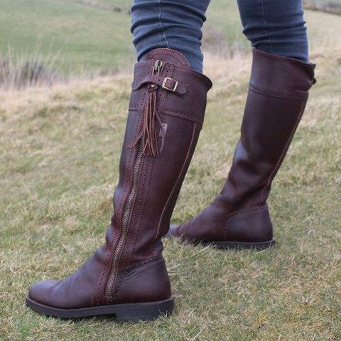 Vintage Zipper Women's Flat Heel Flat Boots
