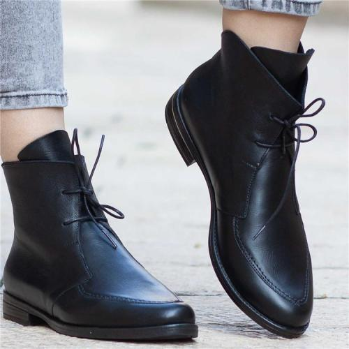 PU Women Ankle Boots Platform Lace Up Zip Shoes Boot