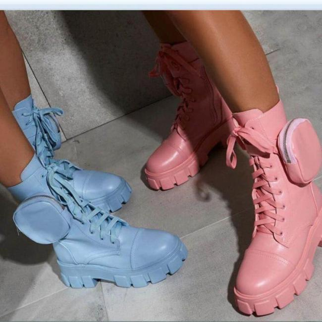 Women's Fashion Candy Color Ins Strap Wallet Platform Martin Boots Ankle Boots