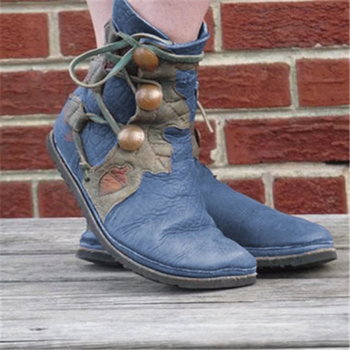 Retro Flat Embroidered Ethnic Lace-up Ankle Boots