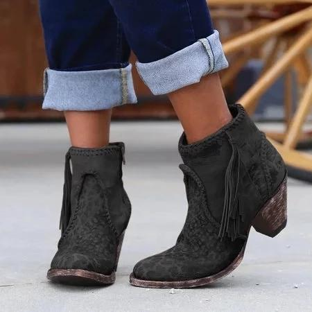 Women Comfy Vintage Slip-on Booties Shoes
