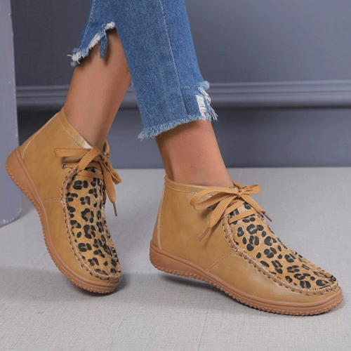 Round Toe Leopard Print Comfortable Flat Boots