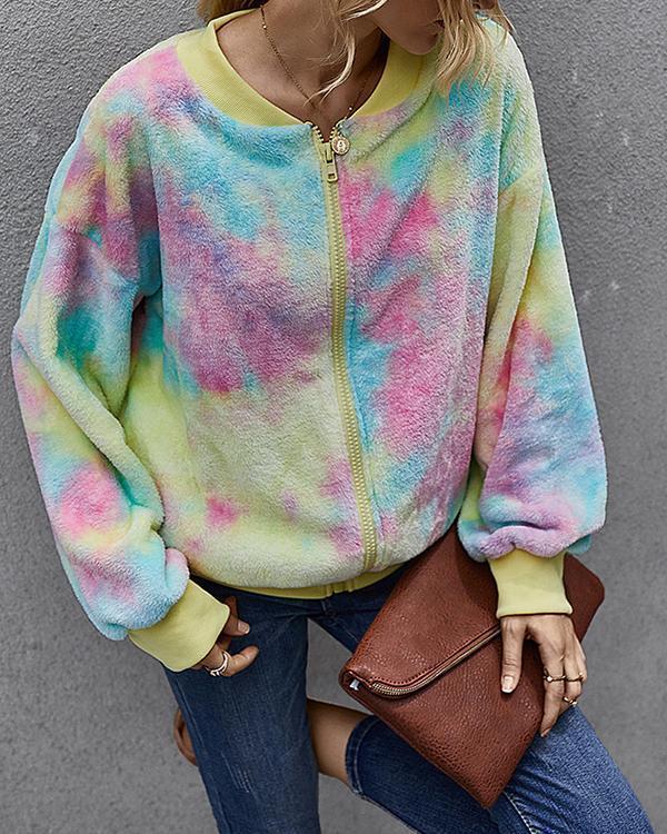 Women's Zipper Winter Teddy Coat Regular Tie Dye Daily Basic Outerwear