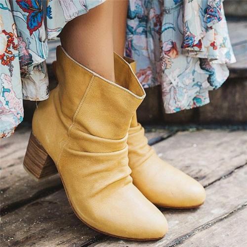 Bohemian Style Handmade Foldover Leather Boots