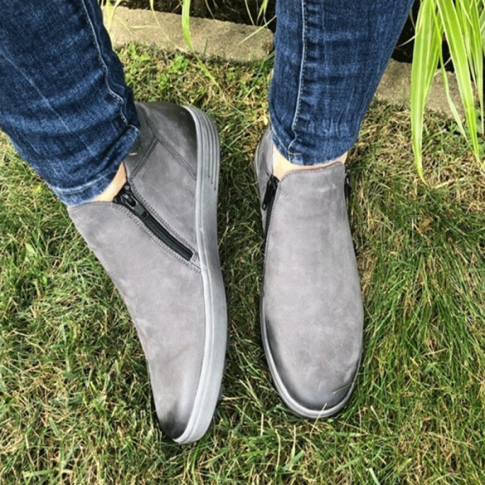 Fashion Side Zipper Round Toe Flat Casual Shoes