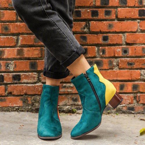 Women's Retro Color Block Low-Heel Comfortable Large Size Short Boots