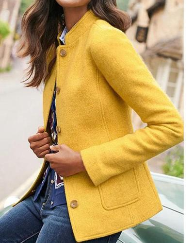 Women's Straight Long Sleeve Pockets Retro Blazer