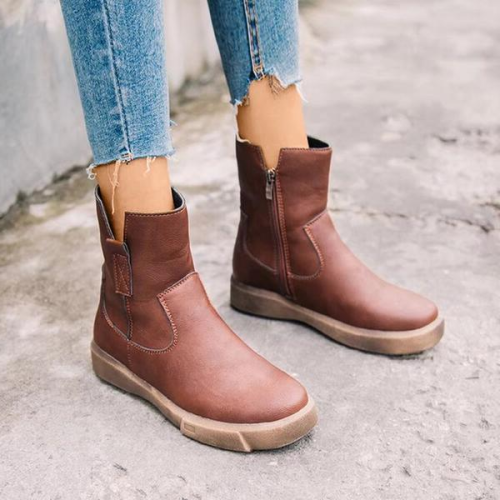 Women's Fabric Flat Heel Mid-Calf Boots Round Toe With Solid Color shoes