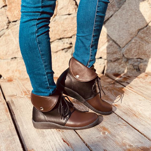 Women's PU Low Heel Boots With Lace-up Splice Color shoes