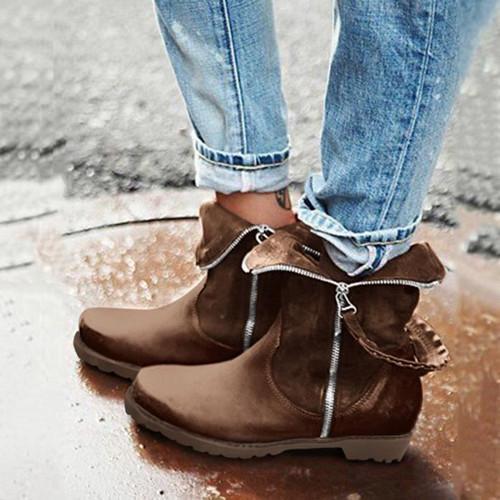 Low-Calf Side Zipper Boots