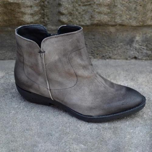 Casual Closed Toe Winter Leather Boots