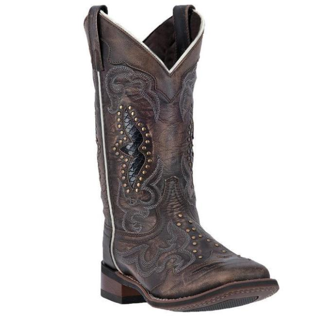 Ladies Embroidered Hollow Rivet Short Western Boots