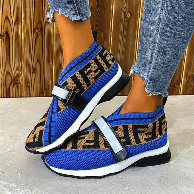 Women's Fashion Flat-Bottom Flying Woven Velcro Mesh Casual Sneakers