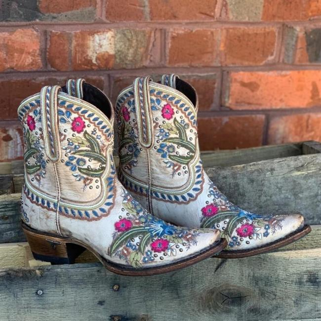 Women Vintage Flower Printed Ankle Boots