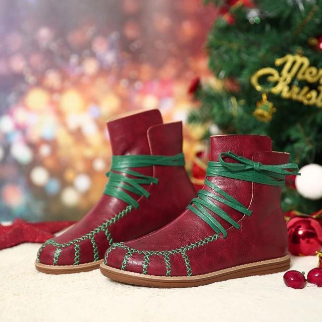 Women Plus Size Lightweight Slip Resistant Lace Up Flat Short Boots