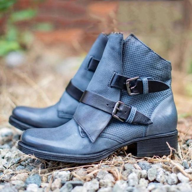 Vintage Leather Zipper Ankle Booties