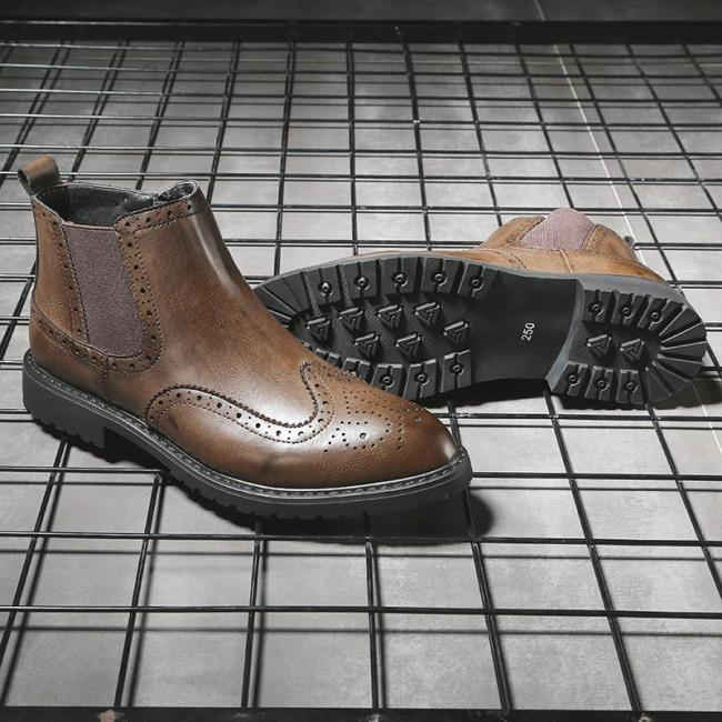 Men Martin Boots Chelsea  British Style Retro Carved Shoes