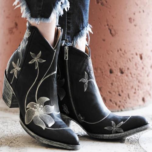 Women Vintage Flower Printed Ankle Boot
