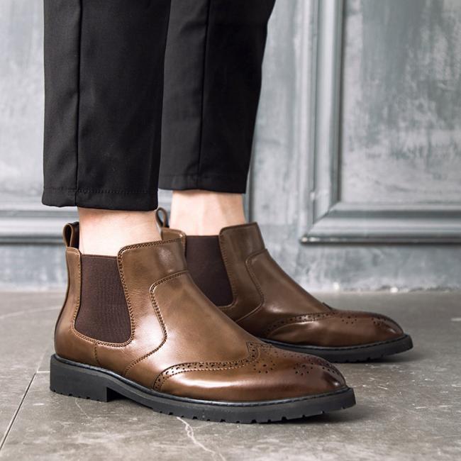 Men PU Leather Brogue Chelsea Boot