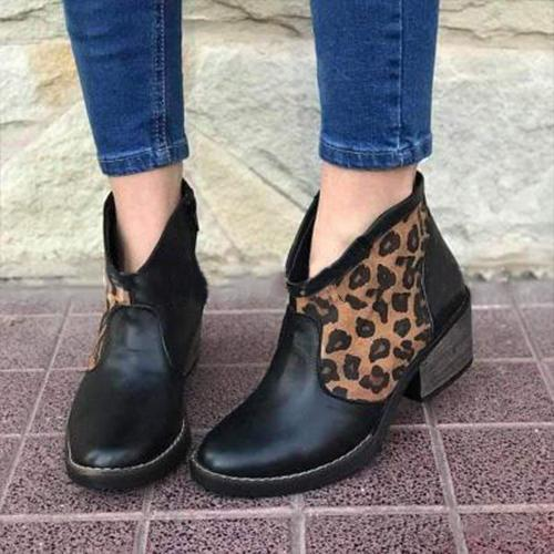 Women Slip On Leopard Printed Boots