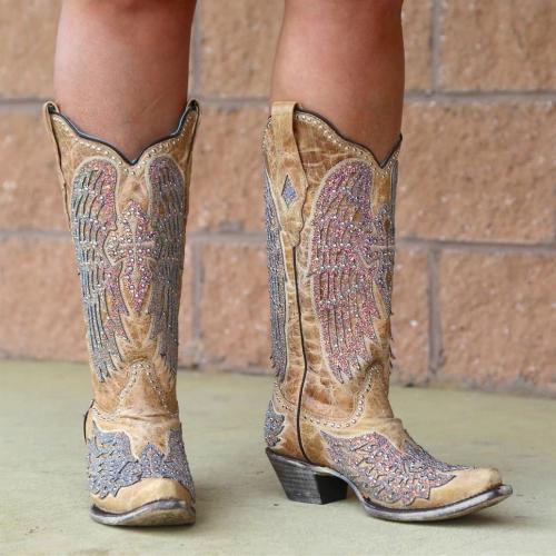 Shiny Chunky Heel Boots