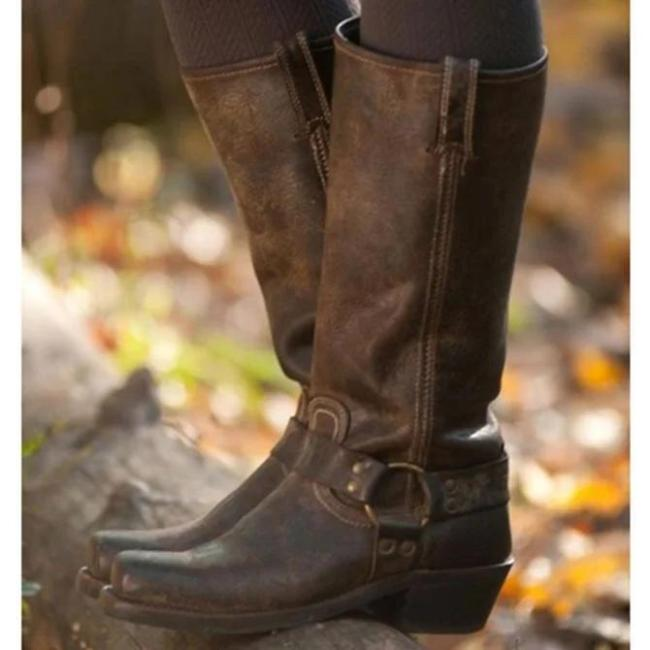 Winter Date Artificial Leather Low Heel Boots