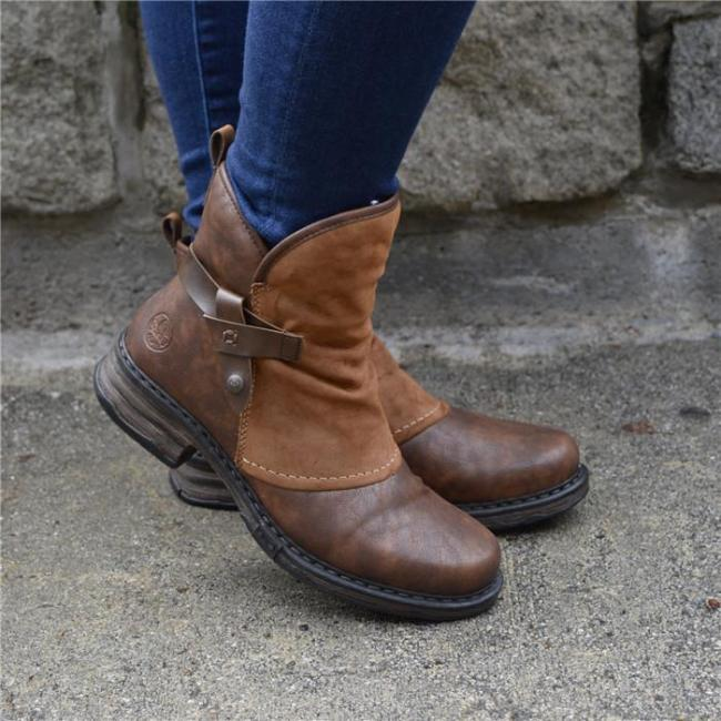 Solid Color Belt Buckle Low Tube Flat Bottom Boots