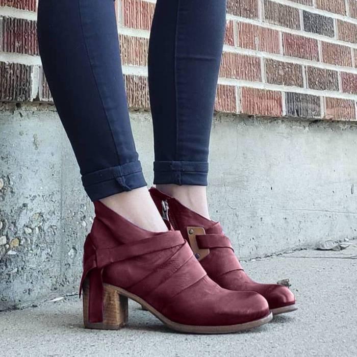 Women Stylish Irregular Rope Decor Zipper Chunky Heel Boots