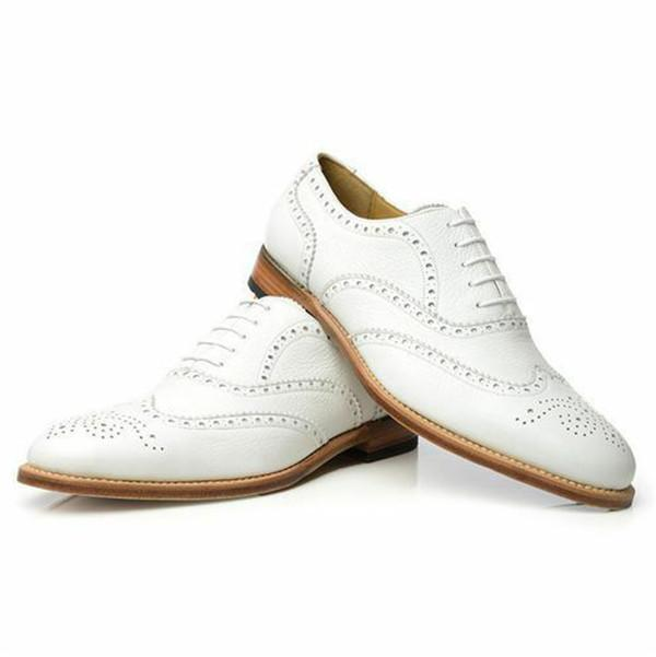 White Leather Wedding Custom Made Leather Oxford Shoes for Men