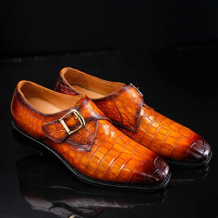 Genuine Mens Alligator Shoes Brown Casual Alligator Shoes