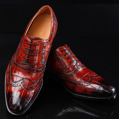 Alligator Brogue Wingtip Dress Shoes