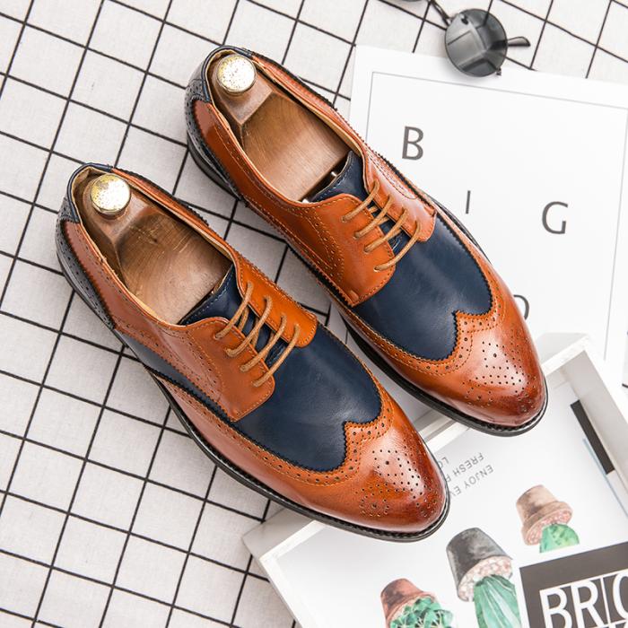 Brock Colorblock Plus Size Leather Shoes Men Wedding Dress Shoes