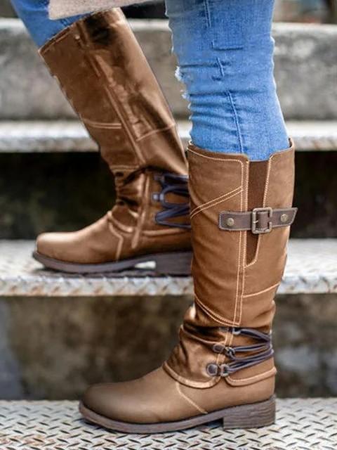 Women's Vintage Leather Zipper High Boots