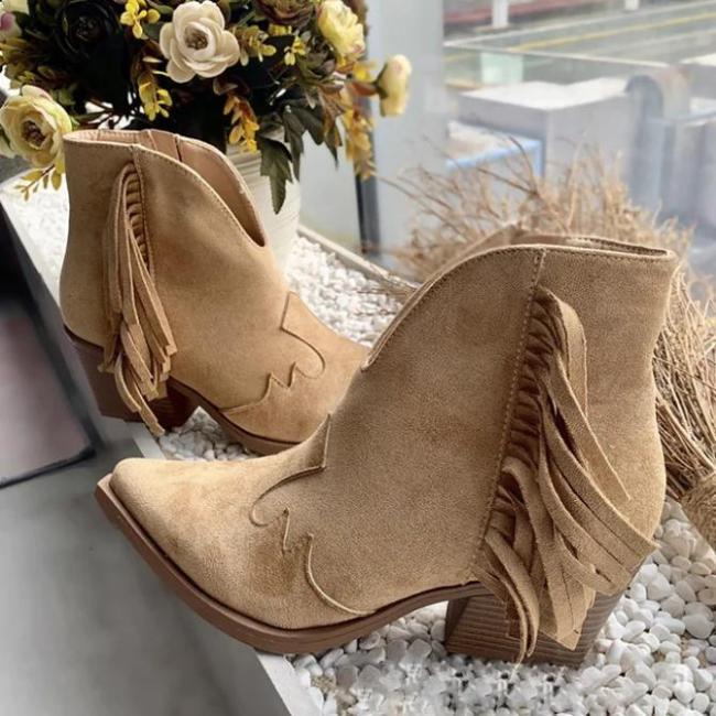 Camel Winter Block Heel Daily Boots