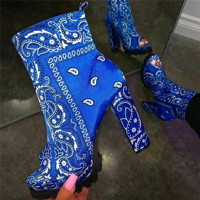 Women Trendy Characteristic Pattern Pointed Toe Slip On Mid Heel Boots