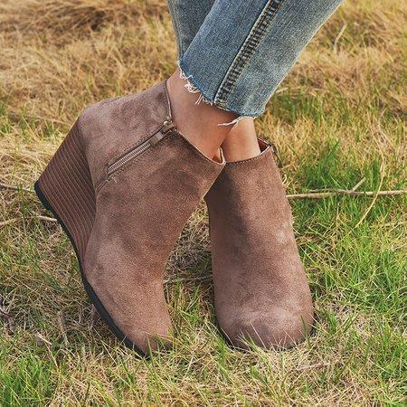 Wedge Heel All Season Ankle Boots