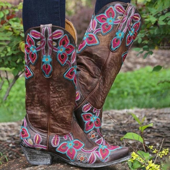Daily Winter Flower Printed Block Heel Boots