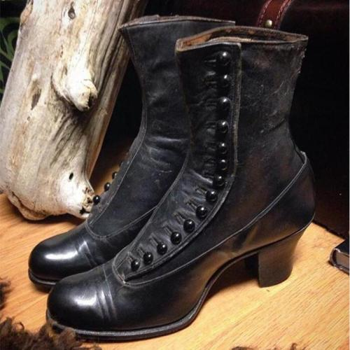 Women Pointed Toe Button Boots