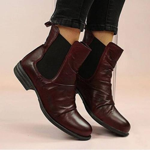 Artificial Leather Seaside Low Heel Boots